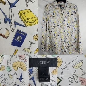 6 JCREW TRAVEL PASSPORT FRENCH FRANCE GRAPHIC TOP